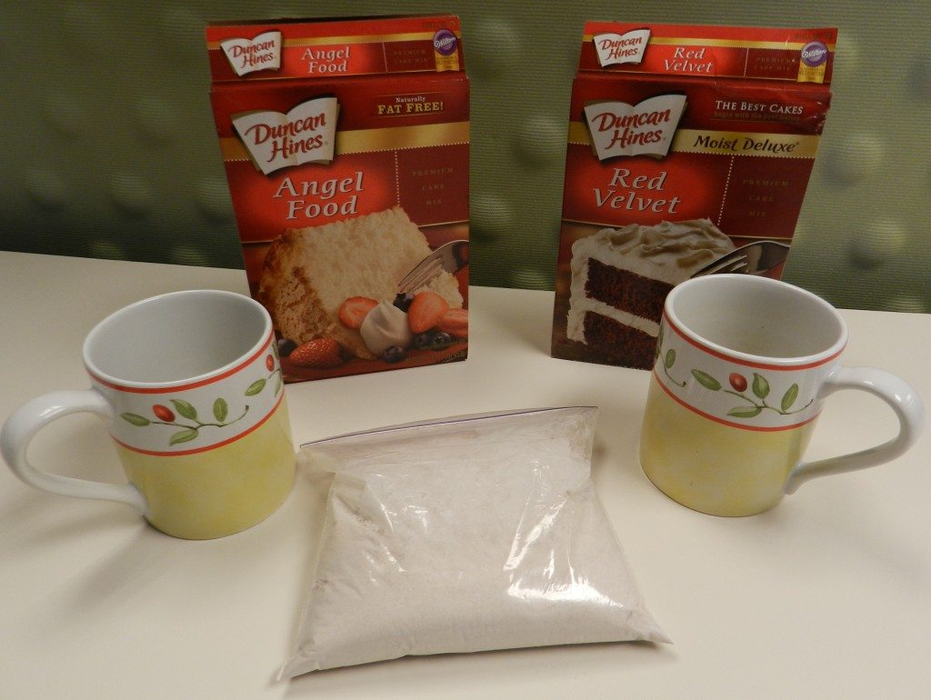 3-2-1 Microwave Cake in a Mug! A quick treat with only 150 calories--simply mix any box cake mix with an angel food cake mix, add water and microwave for one minute!