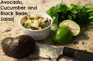 Avocado, Cucumber and Black Bean Salad with Cilantro Lime Dressing